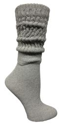 120 Wholesale Yacht & Smith Womens Heavy Cotton Slouch Socks, Solid Heather Gray