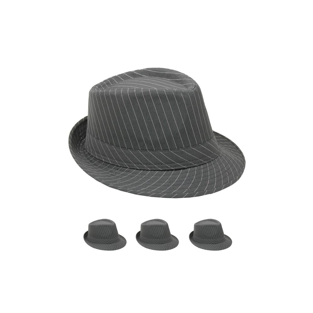 Wholesale Deal On Pinstripe Fabric Fedora Hat Solid Grey - at -  wholesalesockdeals.com 2d5e7613bb1