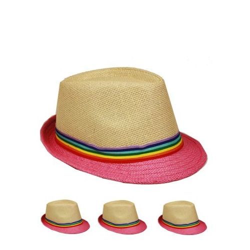 0c979e11042 Wholesale Deal On FEDORA HAT WITH PINK BRIM AND RAINBOW COLORED BAND ...