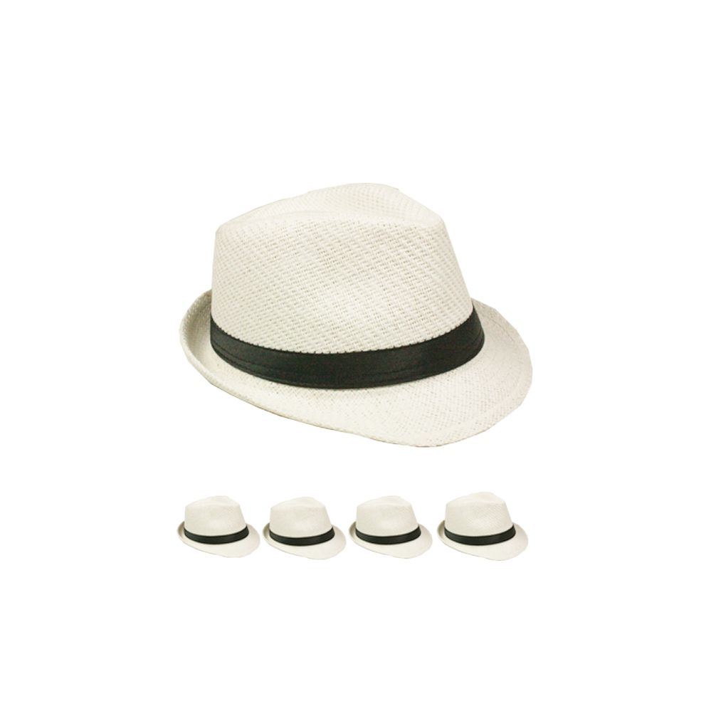 be920a1bf58 24 Wholesale Adult Plain Paper Straw White Fedora Hat - at ...