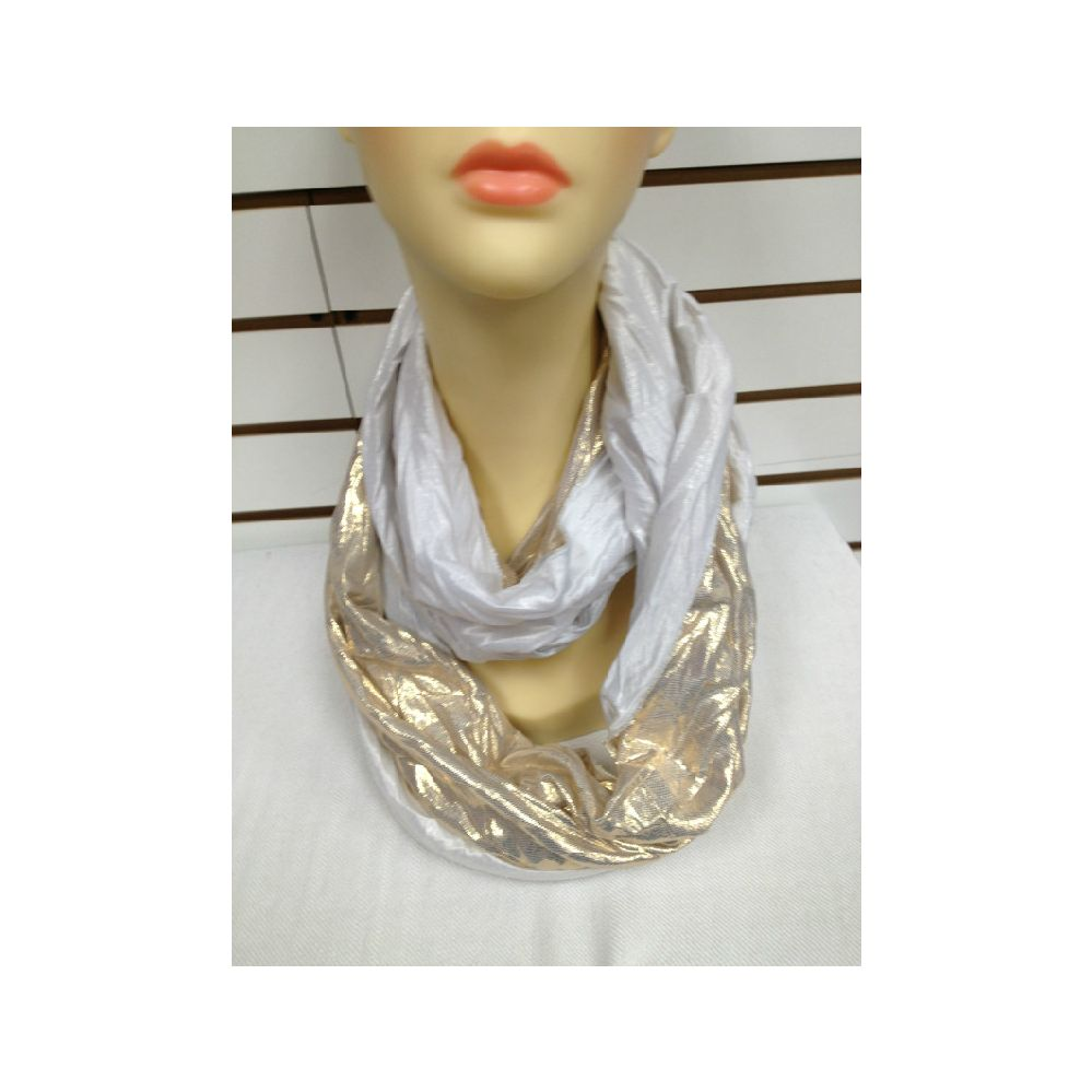 wholesale deal on infinity scarf in gold and white at