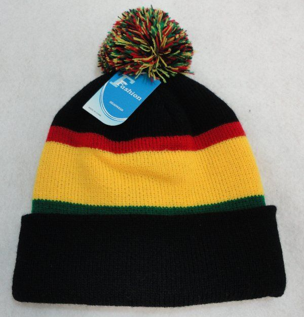 fd578971770 24 Wholesale Double-Layer Knitted Hat with PomPom  Black Red Yellow Green   - at - wholesalesockdeals.com