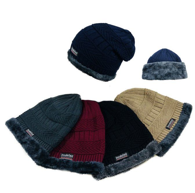 d2091b9a737 Wholesale Deal On Insulated Knitted Slouch Beanie with Plush Lining   MultiStitch  - at - wholesalesockdeals.com