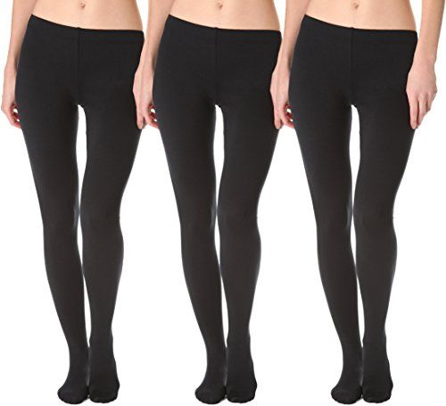 123d04d0a97 Wholesale Deal On 3 Pack Of Womens Mod   Tone Fleece Lined Brushed Footed Tights  for Winter (3 Pairs Black