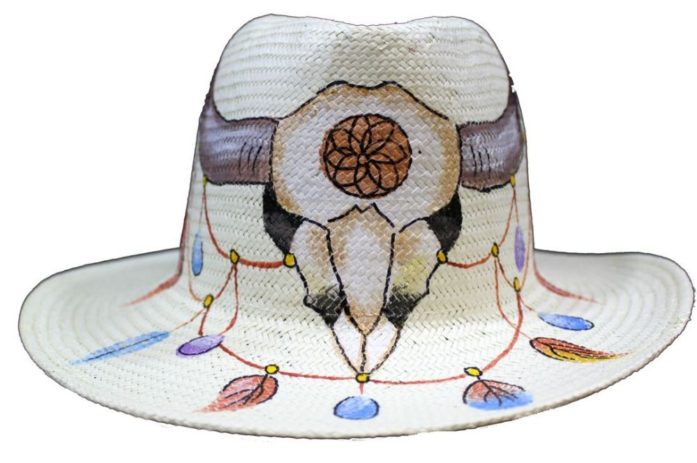 29668198f7ddb 24 Wholesale Classic Panama Sun Hats with  Hand Painted Bull - One Size  Fits Most