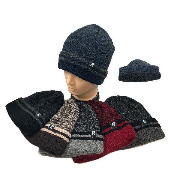 93efb397153 Wholesale Deal On Plush Lined Knit Toboggan Variegated Top Striped Fold