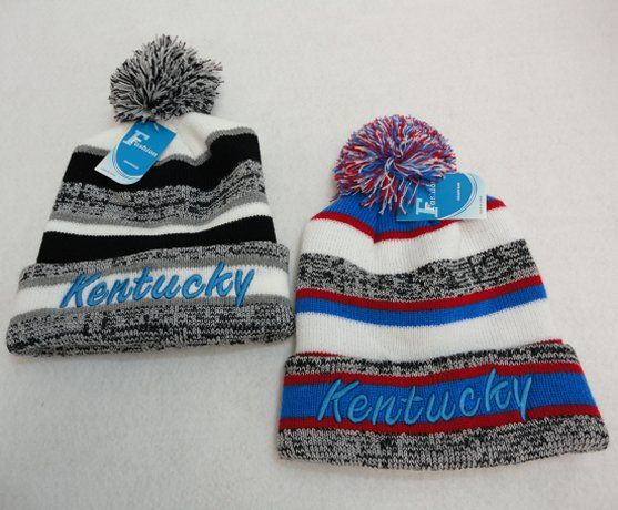 a89d8399171 48 Wholesale Knitted Hat with Pom Pom Embroidered Kentucky Stripes - at -  wholesalesockdeals.com