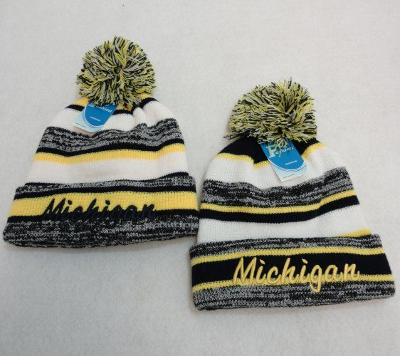 810ed4b4e40 48 Wholesale Knitted Hat with Pom Pom Embroidered Michigan Stripes - at -  wholesalesockdeals.com