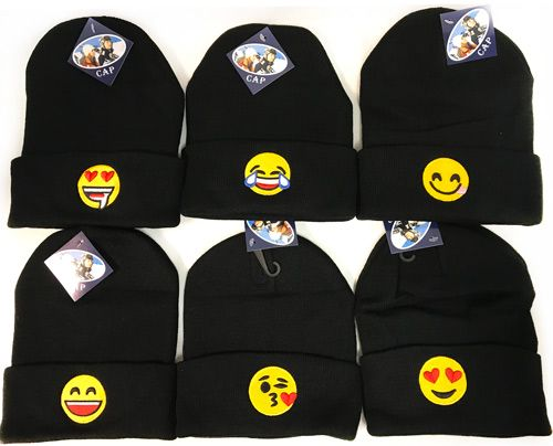 3327b03a0fc6 24 Wholesale Black Knitted Beanie with Assorted Emoji Toboggan - at -  wholesalesockdeals.com
