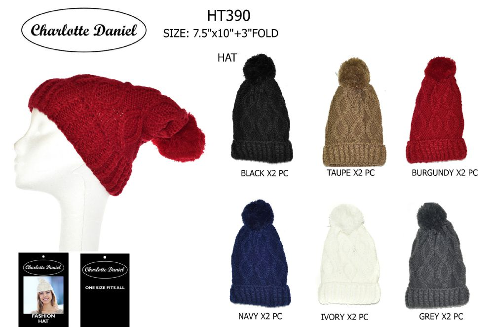 1d80cfe0316f2 60 Wholesale Cable Knit Slouch Pom Pom Winter Beanie - at -  wholesalesockdeals.com