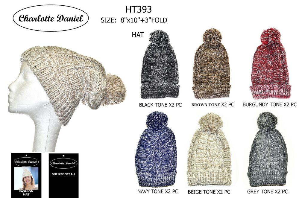 4a02f9049bc79 60 Wholesale Marled Knit Slouch Pom Pom Winter Beanie - at -  wholesalesockdeals.com
