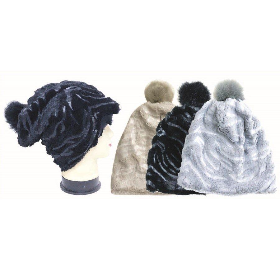 920562b6bb8 36 Wholesale Women Winter Fashion Plush Beanie Hat With Pom Pom - at -  wholesalesockdeals.com