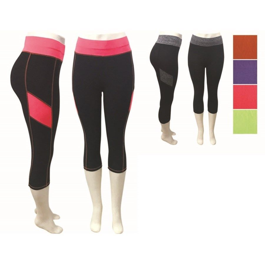 Fitness Leggings Cheap: 24 Wholesale Lady's Fitness Leggings In Assorted Color
