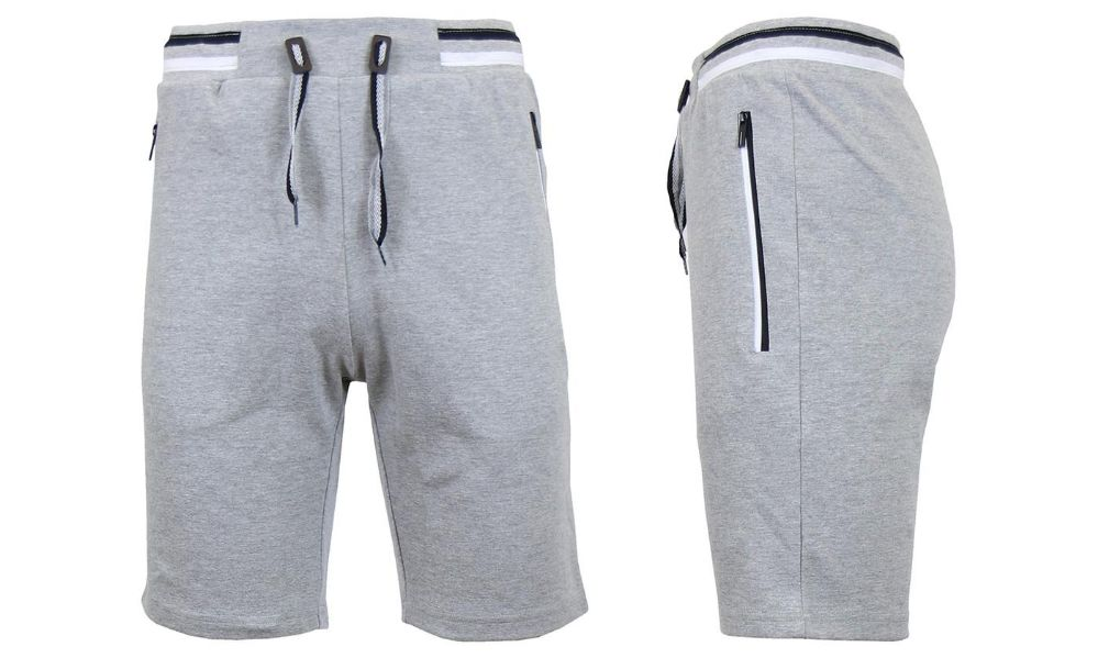 24 Wholesale Men S Fleece Lounge Sweat Shorts With Zipper Pockets Trim Tech Design Solid Heather Gray At Wholesalesockdeals Com