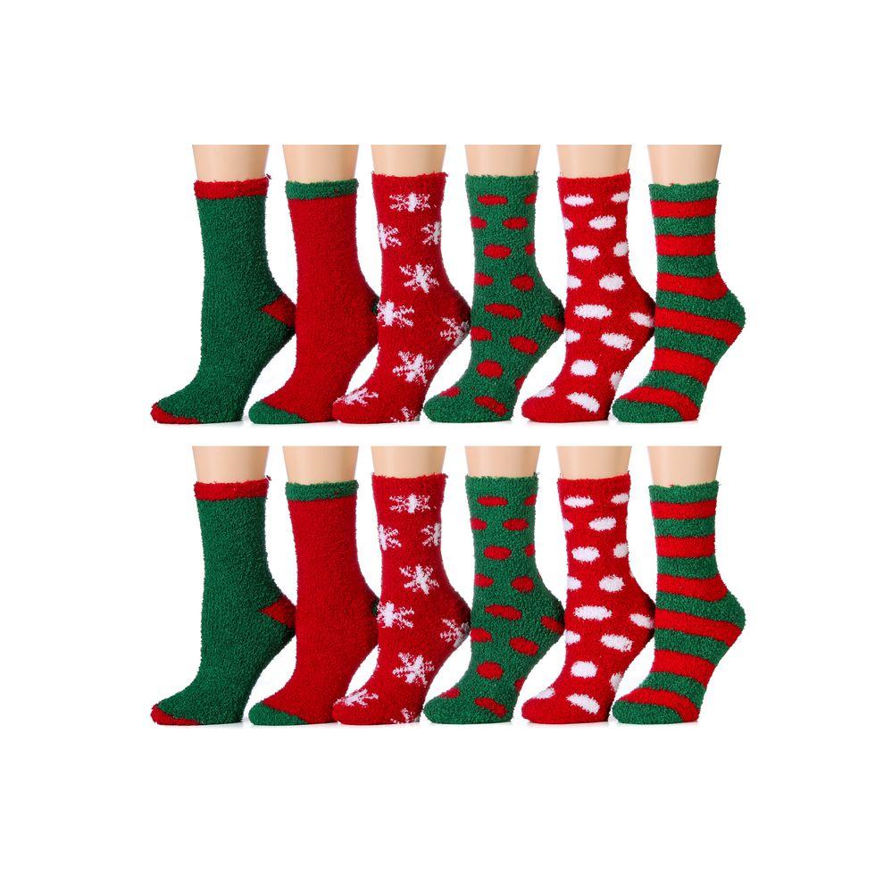 Christmas Fuzzy Socks.144 Wholesale Ladies Crew 9 11 Fuzzy Christmas Socks 24209