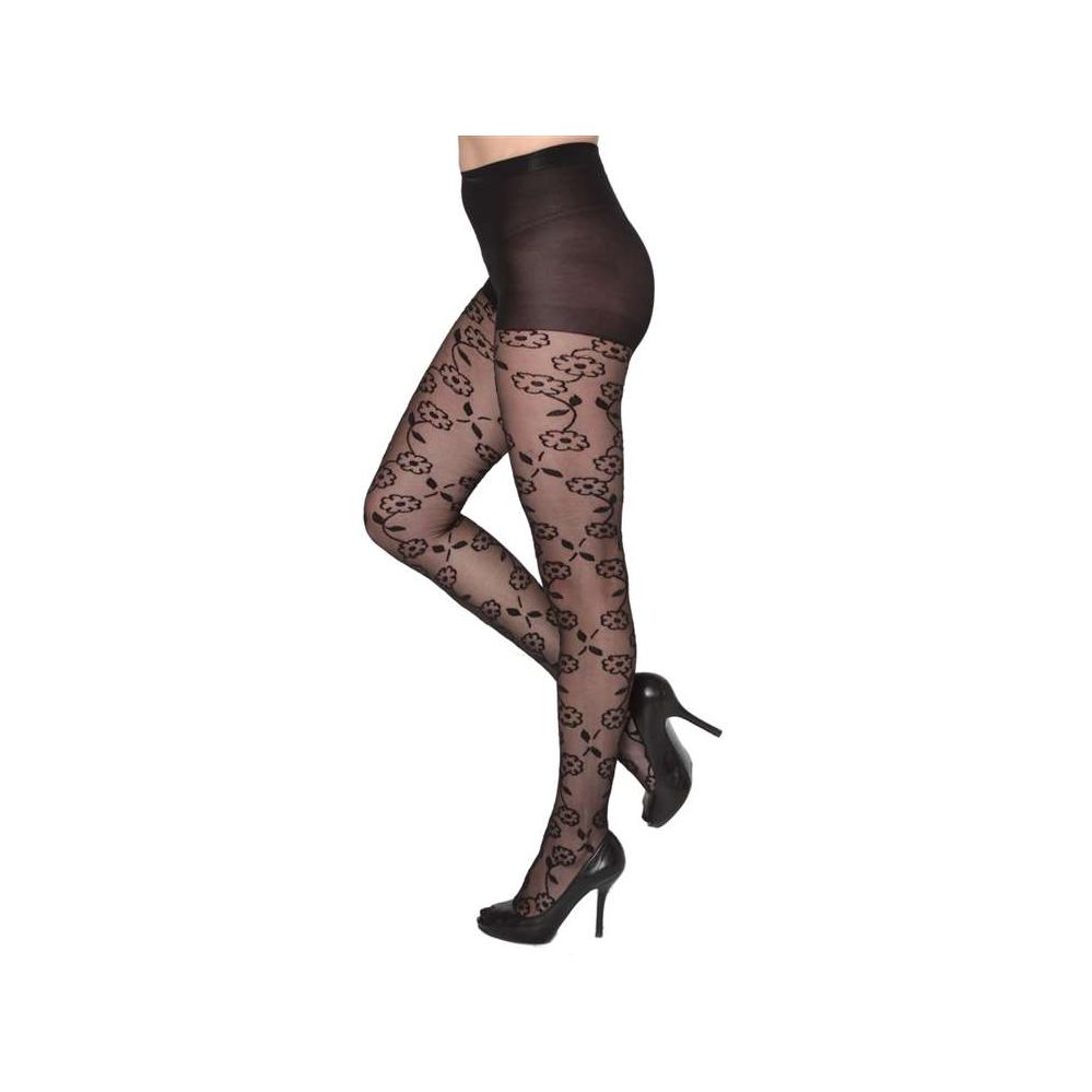 3c6630bf4b82f 24 Wholesale Queens Size Black Sheer Floral Chain Tights - at -  wholesalesockdeals.com