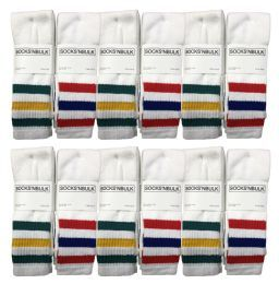 60 Wholesale Yacht & Smith Men's 30 Inch Referee Style Cotton Terry Tube Socks, Size 10-13 White With Stripes