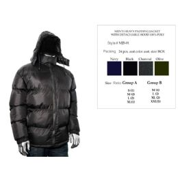 24 Wholesale Mens Heavy Padding Jacket With Detachable Hood 100% Poly