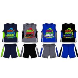 48 Wholesale Spring Boys Jersey Top With Close Mesh Short Sets Size Newborn
