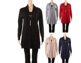 24 Wholesale Womens Long Sleeve Soft Chunky Knit Sweater Open Front Cardigan Outwear
