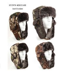 36 Wholesale Cold Windproof Winter Aviator Collection Trooper Trapper Hunting Hat Aviator Winter