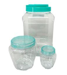 36 Wholesale 3 Piece Square Plastic Jar