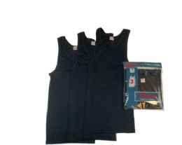 72 Wholesale Mens Cotton A Shirt Undershirt Solid Black Assorted Sizes