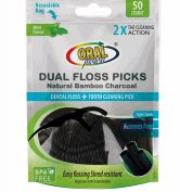 48 Wholesale Oral Fusion Floss Picks 50 Count Charcoal
