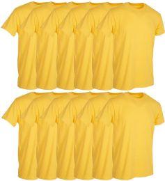 12 Wholesale Mens Yellow Cotton Crew Neck T Shirt Size Small