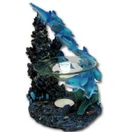 24 Wholesale Dolphin Coral Polyresin Tealight Burner