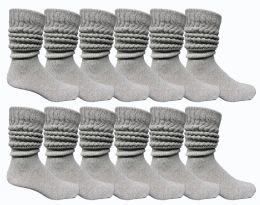 84 Wholesale Yacht & Smith Mens Heavy Cotton Slouch Socks, Solid Heather Gray