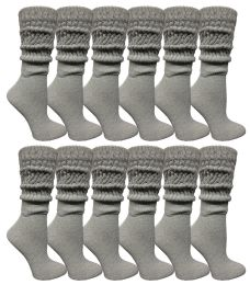 48 Wholesale Yacht & Smith Womens Heavy Cotton Slouch Socks, Solid Heather Gray