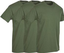 3 Wholesale Mens Military Green Cotton Crew Neck T Shirt Size 2X Large