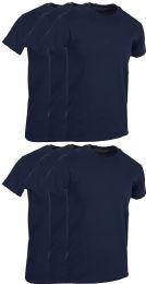 6 Wholesale Mens Navy Blue Cotton Crew Neck T Shirt Size X Large