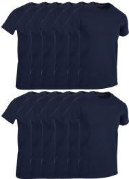 12 Wholesale Mens Navy Blue Cotton Crew Neck T Shirt Size Large