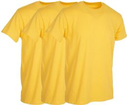 3 Wholesale Mens Yellow Cotton Crew Neck T Shirt Size Large