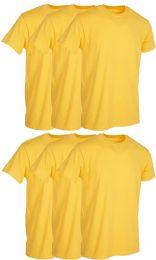 6 Wholesale Mens Yellow Cotton Crew Neck T Shirt Size 2X Large