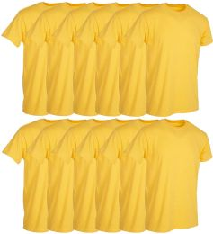 12 Wholesale Mens Yellow Cotton Crew Neck T Shirt Size 2X Large