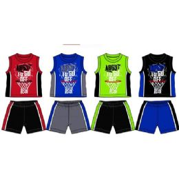 48 Wholesale Spring Boys Jersey Top With Close Mesh Short Sets Size Toddler